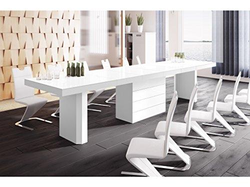 TABLE A MANGER DESIGN EXTENSIBLE (160 ÷ 223 ÷ 349 ÷ 412) CM X P : 100 CM X H: 75 CM – BLANC