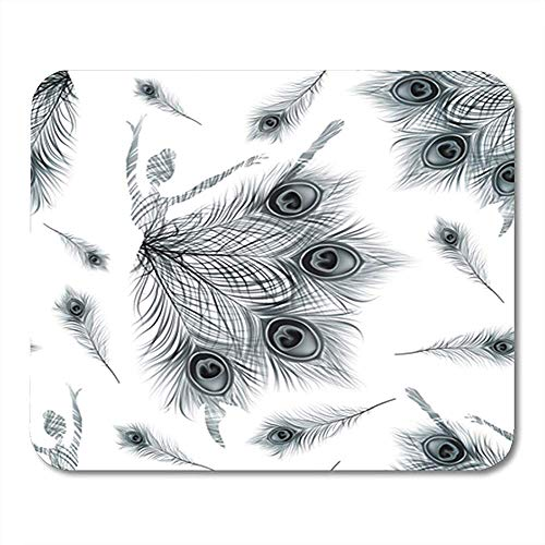 Gaming Mouse Pad Pattern Ballerina Abstract on Vintage Black Peacock Feathers Ballet 25*30cm Decor Office Nonslip Rubber Backing Mousepad Mouse Mat