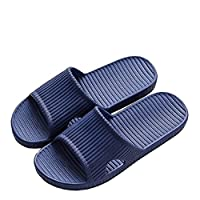 APIKA Women and Men's Anti-Slip Slip-on Slippers Indoor Use Outdoor Use Bath Sandal Soft Foam Sole Pool Shoes House Home Slide(Navy Blue,40/41 EU)