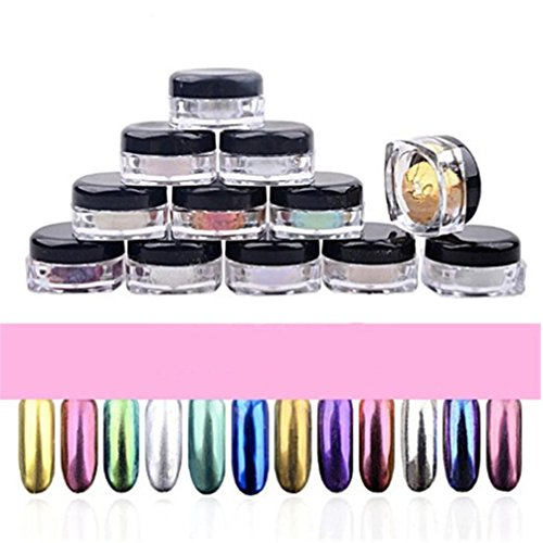 Coolster 12 Boxen 12 Farben Box Chrome Pigment DIY Nail Art Nail Make-up Glitzer Shinning Pulver & mit Schwamm Stick (12Pcs 12 Farben)