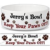 Jerry 's Schüssel–Keep Your Paws Off. Personalisiert Name Keramik Pet Futternapf–2Größen erhältlich
