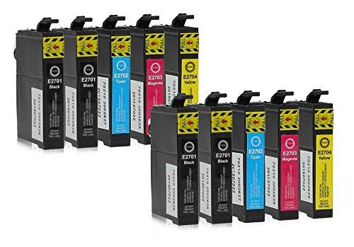 Preisvergleich Produktbild 10 Druckerpatronen kompatibel zu Epson 27-XL, T2705, T2715 (4x Schwarz, 2x Cyan, 2x Magenta, 2x Gelb) passend für Epson WorkForce WF-3600 WF-3620-DWF WF-3620-WF WF-3640-DTWF WF-7110-DTW WF-7600 WF-7610-DWF WF-7620-DTWF