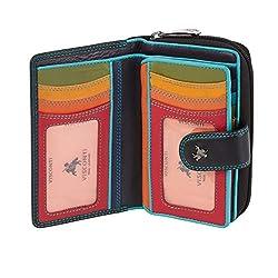 Visconti Bifold Leder Damen Geldbörse Colorado Combination Leather mehrfarbig Purse (CD-22) RFID, Schwartz/Multi (Black Multi), Large