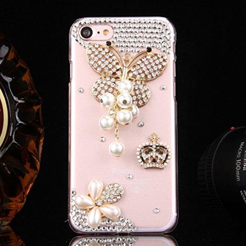GHC Cases & Covers, Fevelove für iPhone 7 Diamond verkrustete blaue und weiße Blumenmuster PC Schutzhülle Rückseite, kleine Menge Empfohlen vor iPhone 7 Starten ( SKU : IP7G0100F ) IP7G0100S