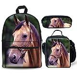 Foruidea, set di 3 zaini a forma di cavalli, borsa per il pranzo, portapenne, portapenne, astuccio leggero per bambini e bambine