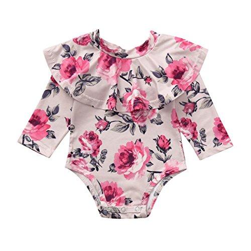 BeautyTop Baby Jungen Mädchen Neugeborenen Langarm Floral Rüschen Strampler Overall Kleidung Langarm Herbst Winter Hoch Qualität Materialien Promotionen (Rot, 6-12Monate) - Marke Kleidung, Baby-mädchen