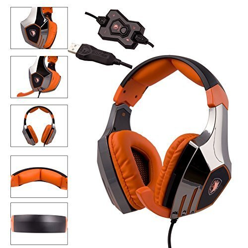 SADES R7 Gaming Headset, USB Headset Stereo Over Ear Kopfhörer Gaming Unterstützt virtuellen 7.1-Kanal Surround Sound, Schwarz - 7.1-surround-sound