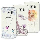 Yokata [3 Packs] Kompatibel mit Hülle Samsung Galaxy S6 Edge Silikon Transparent Durchsichtig Handyhülle Schutzhülle TPU Dünn Slim Kratzfest mit Motiv - Turm Fahrrad + Blumen Schmetterlinge + Blumen