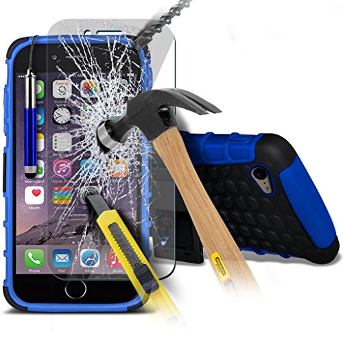 Aventus ( Black ) Apple iPhone 6 Plus Case Cutom Made Drop Proof Heavy Duty Plastic Cover + Tempered Glass with Polishing Cloth & Stylus Touch Screen Pen Shock Proof + Tempered ( Blue )