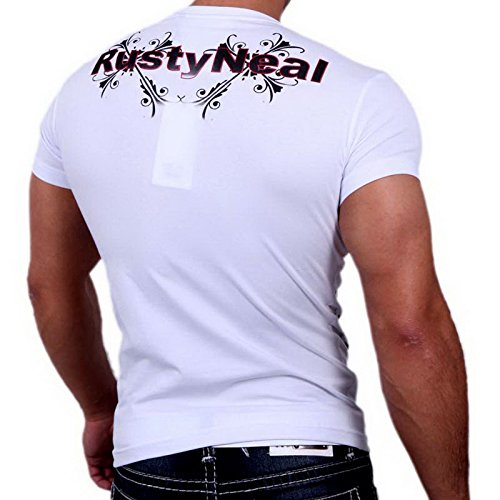 Rusty Neal 3391 Party Club Kurzarm Style Strass T-Shirt Größen S M L XL XXL Weiß