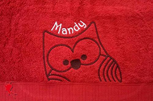Hoot Handtuch bestickt mit Motiv und Name Eulenhandtuch Eule