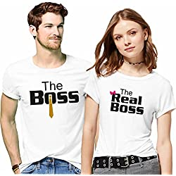 Hangout-Hub Couple Tshirts The Boss The Real Boss Printed White Color Men-L,Women-M