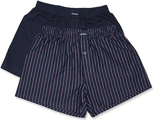 Ceceba Herren Boxershorts Shorts, 2er Pack, Einfarbig, Blau (Navy-Red 2550),XXXXX-Large (Herstellergröße:12)