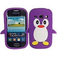 Gr8value Clear Case Thin Transparent Soft Gel S TPU Silicone Case Cover Samsung Galaxy S3 Mini i8190 (purple penguin gel)
