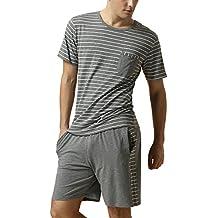 Dolamen Pijamas para Hombre, Pijamas Hombre Primavera verano, Hombre camisones deportes Corta, Rayas Algodón suave y cálido Manga Corta y pantalones Cortos