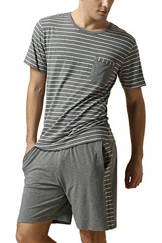 Dolamen pigiama per uomo, signore calda molle primavera estate pigiama da notte, strisce cotone uomo pigiama sportivo, manica corta top & pantaloni con tasche (xx-large, grigio)