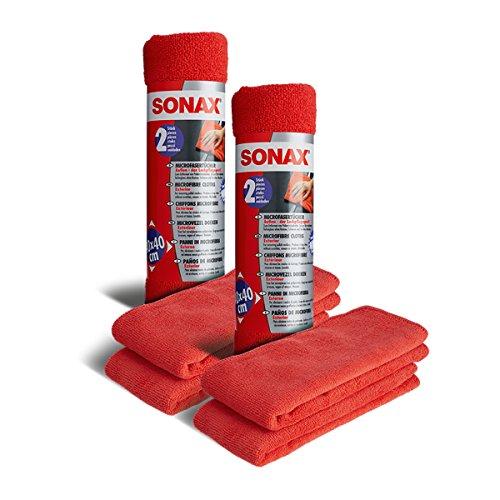 SONAX 2X 04162410 MicrofaserTücher Außen Entfernt Polierrückstände 2 Stück