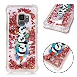 Samsung Galaxy S9 Hülle, JINCHANGWU Transparente weiche Gel TPU Silikonhülle, Flüssiger Quicksand Floating Luxury Bling Glitter Sparkle Diamond Shockproof (Panda)