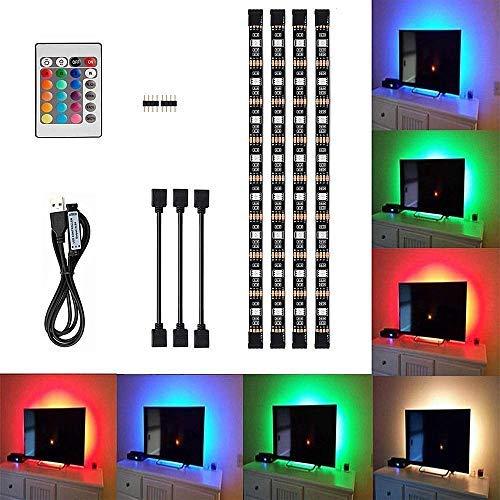 LED-Streifen TV-Hintergrundbeleuchtung Wasserdichte LED TV Licht 16 wechselnden Farben led Strip mit Fernbedienung für 40 bis 60 Zoll HD TV,TV-Bildschirm und PC-Monitor,Led Strip