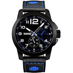 Amstt Dual Time Boys Men Watch with Black Dial Analogue Display Digital Quartz Sports Watch Chronograph 5ATM Waterproof Watches Blue/Black