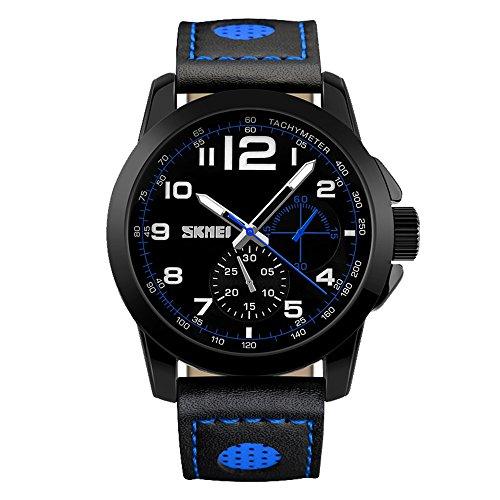 Amstt Herren Armbanduhr Analog Digital Quarz Dual Time Jungen Sportuhr Chronograph 5ATM Wasserdicht Uhren Blau - Schwarz