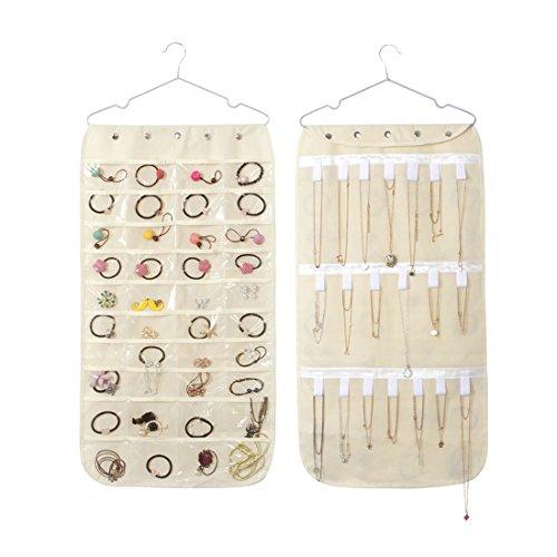 Dooppa Dual Seiten 40 Taschen & 20 Haken hängende Schmuck Organizer Lagerung mit Metallbügel - Hängende Schmuck Lagerung