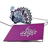 """3D Pop Up Karte """"Pfau"""" - edle Geburtstagskarte, Hochzeitskarte und Einladung in Violett – Glückwunschkarte & Einladungskarte mit Umschlag"""