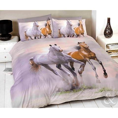 Just Contempo - Juego de funda nórdica y dos fundas de almohada, diseño de caballos, color blanco, gris y marrón, mezcla de algodón, crema, marrón y gris, Double Duvet Cover