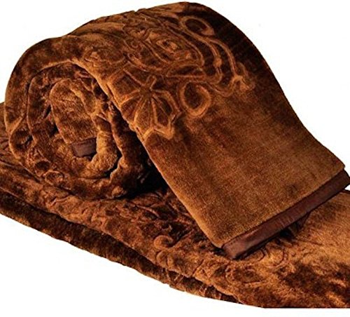SRS Floral Bed Blanket- Double, Brown with a stylish carry bag