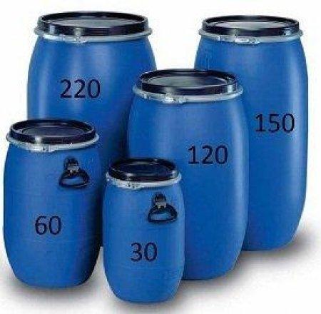 weithalsfass 120 Liter Blau mit Spannverschluss. Neu und Lebensmittelecht aus Polyethylen