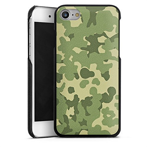 Apple iPhone 5 Lederhülle Leder Case Leder Handyhülle Muster Grün Camouflage Leder Case schwarz