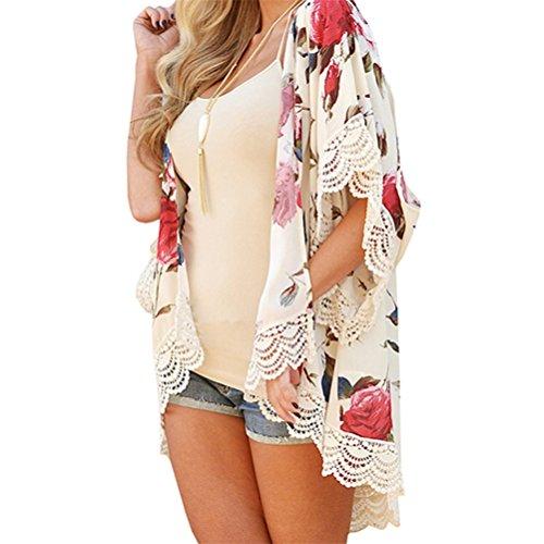 Vovotrade Neue Frauen Sommer Spitze Chiffon Kimono Cardigan Plus Größe Schal Blusen (Size:XL, Beige)