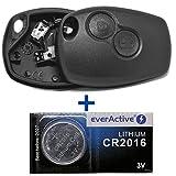 Llave de Coche Caja de mando a distancia 1x 2teclas + 2x Batería horquillas + 1x CR2016batería para Renault y Dacia/Opel