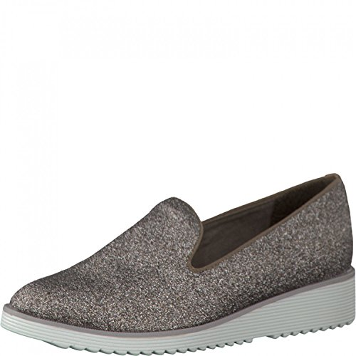 Tamaris TREND Ladies Slipper 1-24702-26-970 Platinum Glam / marron braun