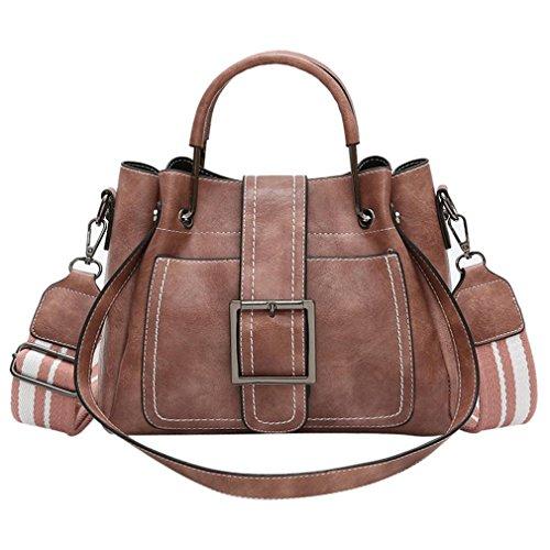 Verrückte Rabatt-Saison UFACE Lady Vintage Leder Eimer Messenger Schulter Bag Retro Damen Schultertasche Mit Corssbody Tasche & Handtasche (Rosa)