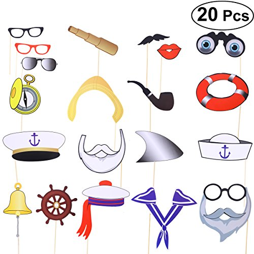 BESTOYARD Nautische Photo Booth Props Sailor Party Favors Ocean Thema Partei Liefert Kinder Geburtstagsparty Dekoration Halloween Cosplay Requisiten 20 STÜCKE