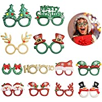 TAZEMAT 12pcs Christmas Novelty Glasses Kids Costume Party Eyeglasses Christmas Tree Antler Snowman Santa Claus Funny Creative Decoration Glitter Eyewear Frame for Holiday Favours