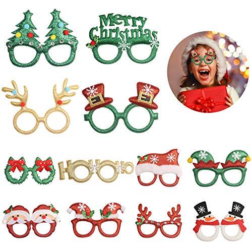 TAZEMAT 12 pcs Gafas Decorativas Navideñas Gafas Divertidas de Dibujos Animados Papá Noel Cuerno de Ciervo Varios Estilos Feliz Navidad Disfraz Accesorio de Fiesta de Navidad para Niños y Adultos
