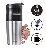 ZenCT Single Cup Coffee Maker, Grind and Brew Single Serve includes Electric Burr Grinder USB Chargeable - Reusable Filter - 15 oz Insulated Tumbler