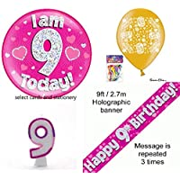OakTree Girls 9th birthday party pack large badge banner balloons + candle pink 9 today
