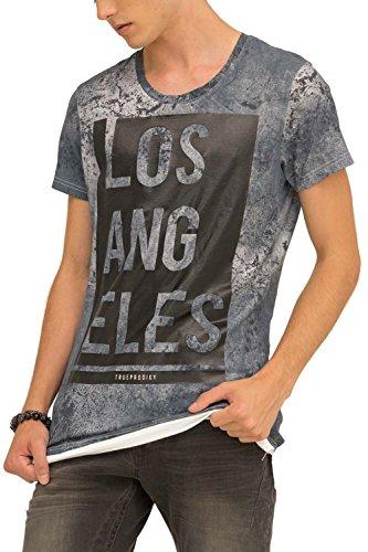 trueprodigy Casual Herren Marken T-Shirt mit Aufdruck, Oberteil cool und stylisch mit Rundhals (kurzarm & Slim Fit), Shirt für Männer bedruckt Farbe: Blau 1073126-4014 Ombre Blue