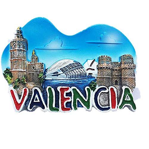 MUYU Magnet 3D Valencia Spain magnet for Refrigerator, home and Kitchen, Decoration sticker, Spain Valencia Fridge Magnet Travel Souvenir Gift