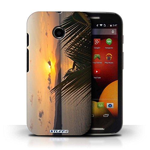 Kobalt® Imprimé Etui / Coque pour Motorola Moto E (2014) / mer conception / Série Coucher du Soleil palmiers