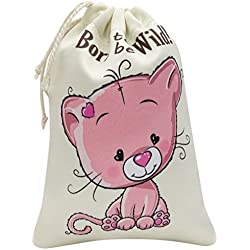 Darling Souvenir Bolsas para llevar Born To Be Wild Favores de gato Fiesta de cumpleanos de estampado de animales Gracias Bolsa de cordon, Paquete de 10