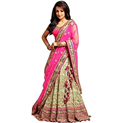 Magneitta Women's Fashion Georgette and Net Lehenga Choli (93089_Multi-Coloured) (Pink)
