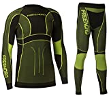 Freenord Powertech Herren Funktionswäsche Thermoaktiv Atmungsaktiv Base Layer Set Outdoor Radsport Running (Schwarz/Lime, XL)