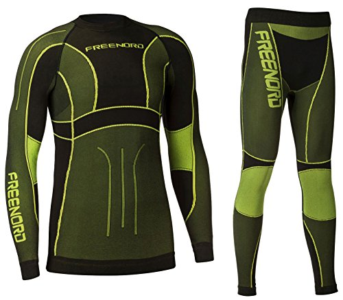 Freenord Powertech Herren Funktionswäsche Thermoaktiv Atmungsaktiv Base Layer Set Outdoor