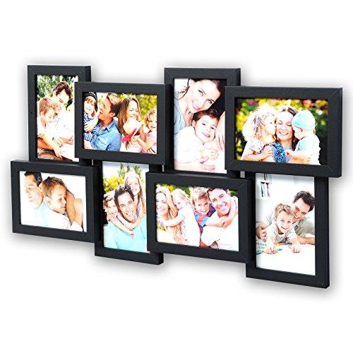 WOLTU BR9643ei Bilderrahmen Holz Rahmen, Für 8 Bilder, Querformat und Hochformat, 10x15cm Foto...
