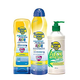 Banana Boat – Pack para niños – Spray Bruma de Crema Solar Para Niños SPF 50, 220 ml + Crema De Sol Para Niños SPF 50, 180 ml + Loción After Sun 470ml