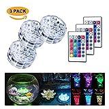 Luci LED sommergibili 10 LED RGB 16 colori che cambiano luci subacquee impermeabili Multi colore alimentato a batteria con telecomando IR per acquario, base di vaso, stagno, piscina, giardino, partito